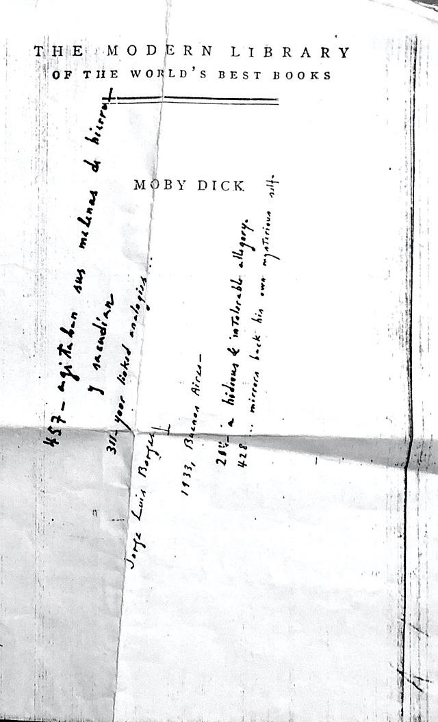 Hoja escrita por puño y letra de Borges